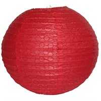 Pandoli Kırmızı Renk 35 Cm Dantelli Kağıt Çin Feneri Asma Süs