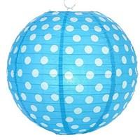 Pandoli Kağıt Çin Feneri Asma Süs Mavi Beyaz Puanlı 35 Cm