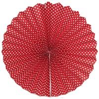 Pandoli Kırmızı Beyaz Puanlı Kağıt Yelpaze Süs 40 Cm 1 Adet