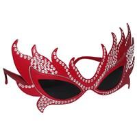 Pandoli Taşlı Tarz Kırmızı Renk Parti Gözlüğü