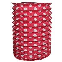 Pandoli Kırmızı Beyaz Puanlı Kırmızı Renk Gemici Feneri Akordeon Uzar Süs