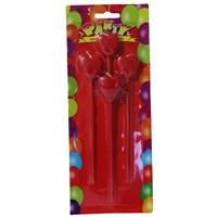 Pandoli Kalpli Parti Mumu Çubuklu Kırmızı Renk 4 Adet