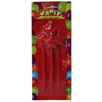 Pandoli Yıldızlı Parti Mumu Çubuklu Kırmızı Renk 4 Adet