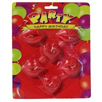 Pandoli Dudak Şekilli Parti Mumu Kırmızı Renk 6 Adet