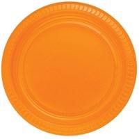 Pandoli Turuncu Renk 22 Cm Plastik Parti Tabağı 25 Adet