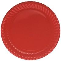 Pandoli Kırmızı Renk 23 Cm Karton Parti Tabağı 8 Adet