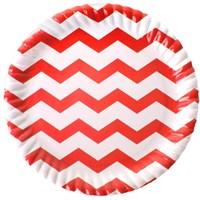 Pandoli 23 Cm Kırmızı Beyaz Çizgili 8 Adet Karton Parti Tabağı