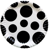 Pandoli Siyah Beyaz Puanlı 23 Cm Karton Parti Tabağı 8 Adet
