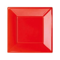 Pandoli Kırmızı Renk Küçük Boy 17 Cm Plastik Parti Tabağı 8 Adet