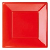 Pandoli Kırmızı Renk Büyük Boy 23 Cm Plastik Parti Tabağı 8 Adet