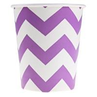 Pandoli 180 Ml Violet Beyaz Çizgili 8 Adet Karton Parti Bardağı