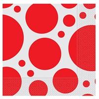 Pandoli 33 Cm Kağıt Parti Peçetesi Kırmızı Beyaz Puanlı 20 Adet