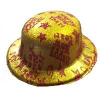 Pandoli Simli Plastik Happy New Year Yazılı Parti Şapkası Altın Renk