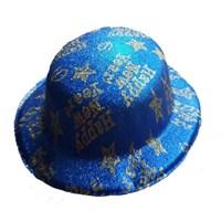 Pandoli Simli Plastik Happy New Year Yazılı Parti Şapkası Mavi Renk