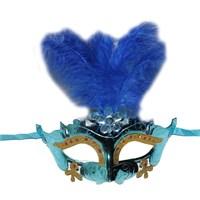 Pandoli İşlemeli Tüylü Karnaval Maskesi Kırmızı Renk