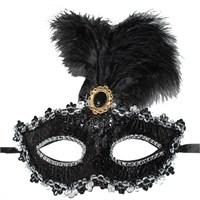 Pandoli Siyah Renk İşlemeli Tüylü Carnaval Maskesi
