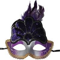 Pandoli Mor Renk Tavus Kuşu Şekilli Parti Maskesi