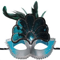 Pandoli Tavus Kuşu Şekilli Venedik Maskesi Mavi Renk