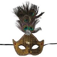 Pandoli Pullu Tavus Kuşu Tüylü Parti Maskesi Altın Renk