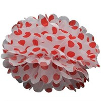 Pandoli 35 Cm Kırmızı Beyaz Puanlı Renk Pelur Kağıt Ponpon Çiçek Asma Süs