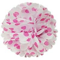 Pandoli 35 Cm Pembe Beyaz Puanlı Renk Pelur Kağıt Ponpon Çiçek Asma Süs