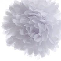 Pandoli Beyaz Renk Pelur Kağıt Ponpon Çiçek Asma Süs 1 Adet