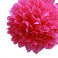 Pandoli 35 Cm Şeker Pembesi Renk Pelur Kağıt Ponpon Çiçek Asma Süs