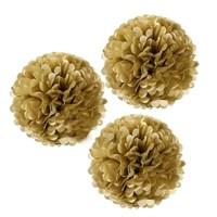 Pandoli 3'Lü Altın Renk Pelur Kağıt Ponpon Çiçek Asma Süs 35 Cm