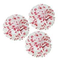 Pandoli Kırmızı Beyaz Renk Puanlı Pelur Kağıt Ponpon Çiçek Asma Süs 35 Cm