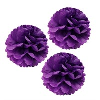 Pandoli 3'Lü Lila Renk Pelur Kağıt Ponpon Çiçek Asma Süs 25 Cm