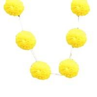 Pandoli 6'Lı Pelur Kağıt Ponpon Çiçek Dizili Asma Süs Sarı Renk 10 Cm