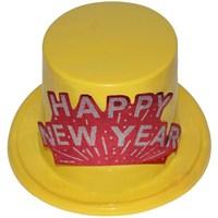 Pandoli Sarı Renkli Yılbaşı Happy New Year Şapka