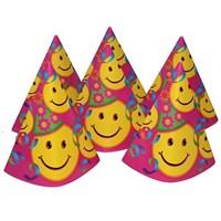 Pandoli Smiley Karton Parti Şapkası Pembe Renk 6 Adet