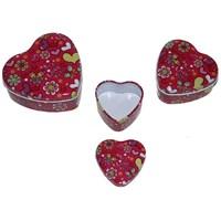 Pandoli Metal Kırmızı Renk I Love You 3'Lü Kalp Şeklinde Hediye Kutusu