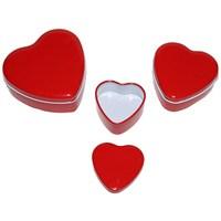 Pandoli Metal Kırmızı Renk 3'Lü Kalp Şeklinde Hediye Kutusu