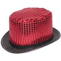Pandoli Kırmızı Renk Pullu Melon Parti Şapkası