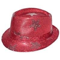Pandoli Kırmızı Renk Yıldızlı Pullu Dansçı Şapkası