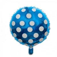 Pandoli Beyaz Puantiyeli Mavi Renk Folyo Balon