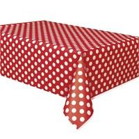 Pandoli Kırmızı Beyaz Renk Puanlı Plastik Parti Masa Örtüsü