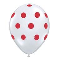 Pandoli 10 Adet Beyaz Kırmızı Puanlı Baskılı Latex Balon