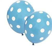 Pandoli Bebek Mavisi Beyaz Puanlı Baskılı Latex Balon 10 Adet