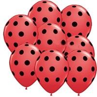 Pandoli Kırmızı Siyah Puanlı Baskılı Latex Balon 100 Adet