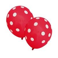 Pandoli Kırmızı Beyaz Puanlı Baskılı Latex Balon 10 Adet