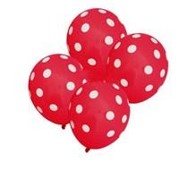 Pandoli 25 Adet Kırmızı Beyaz Puanlı Baskılı Latex Balon