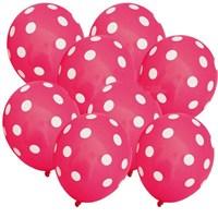 Pandoli Şeker Pembesi Beyaz Puanlı Baskılı Latex Balon 100 Adet