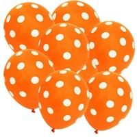 Pandoli 100 Adet Turuncu Beyaz Puanlı Baskılı Latex Balon