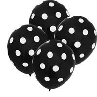 Pandoli Siyah Beyaz Puanlı 10 Adet Baskılı Latex Balon