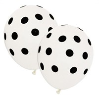 Pandoli 10 Adet Beyaz Siyah Puanlı Baskılı Latex Balon