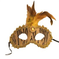 Pandoli Zebra Desenli Tüylü Parti Maskesi