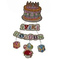 Pandoli Doğum Günü Pastalı 3 Boyutlu İyi Ki Doğdun Karton Asma Süs